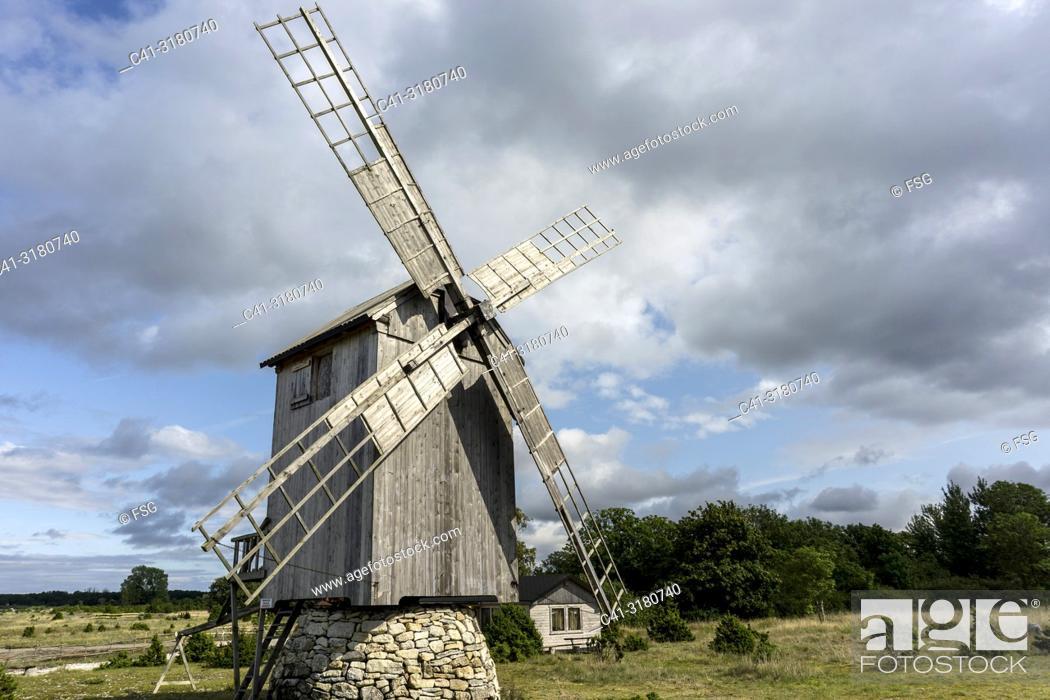 Stock Photo: Windmill. Angla tuulikud Saaremaal. Saaremaa. Estonia.