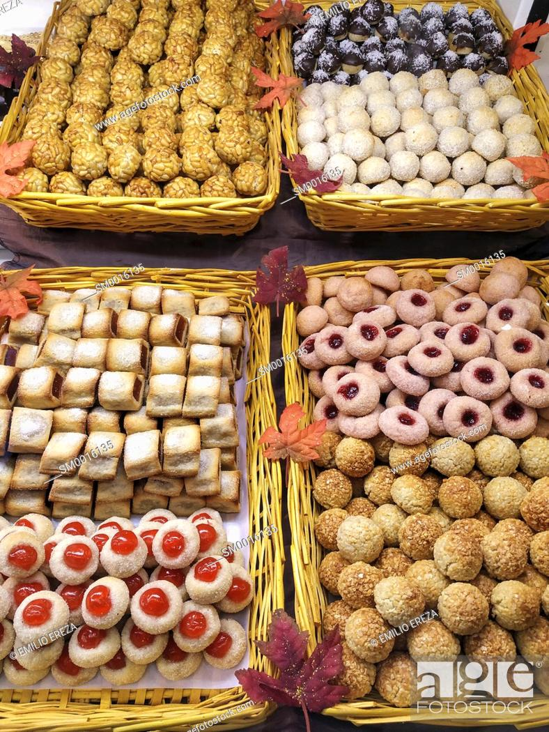 Stock Photo: Panellets, Typical pastries from Catalonia, Spain.