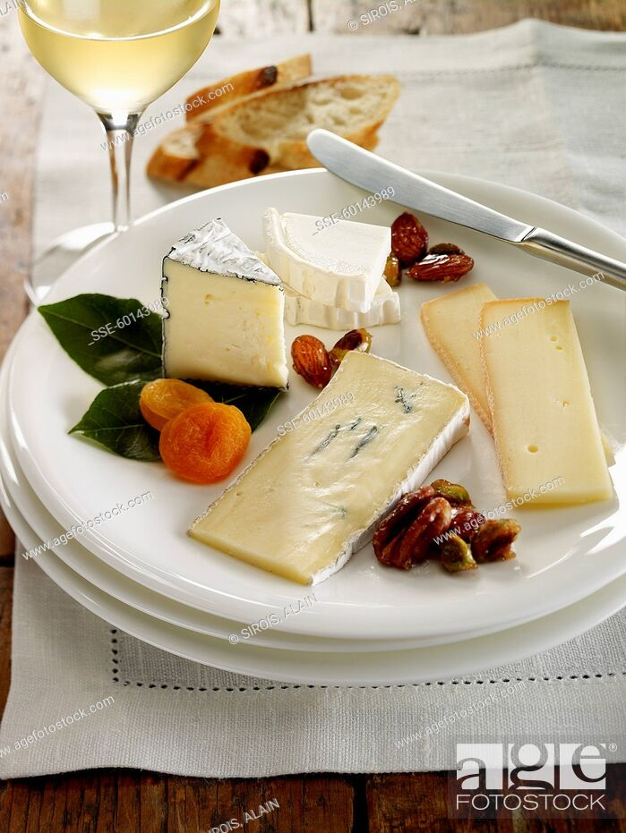 Stock Photo: Plate of assorted cheeses.