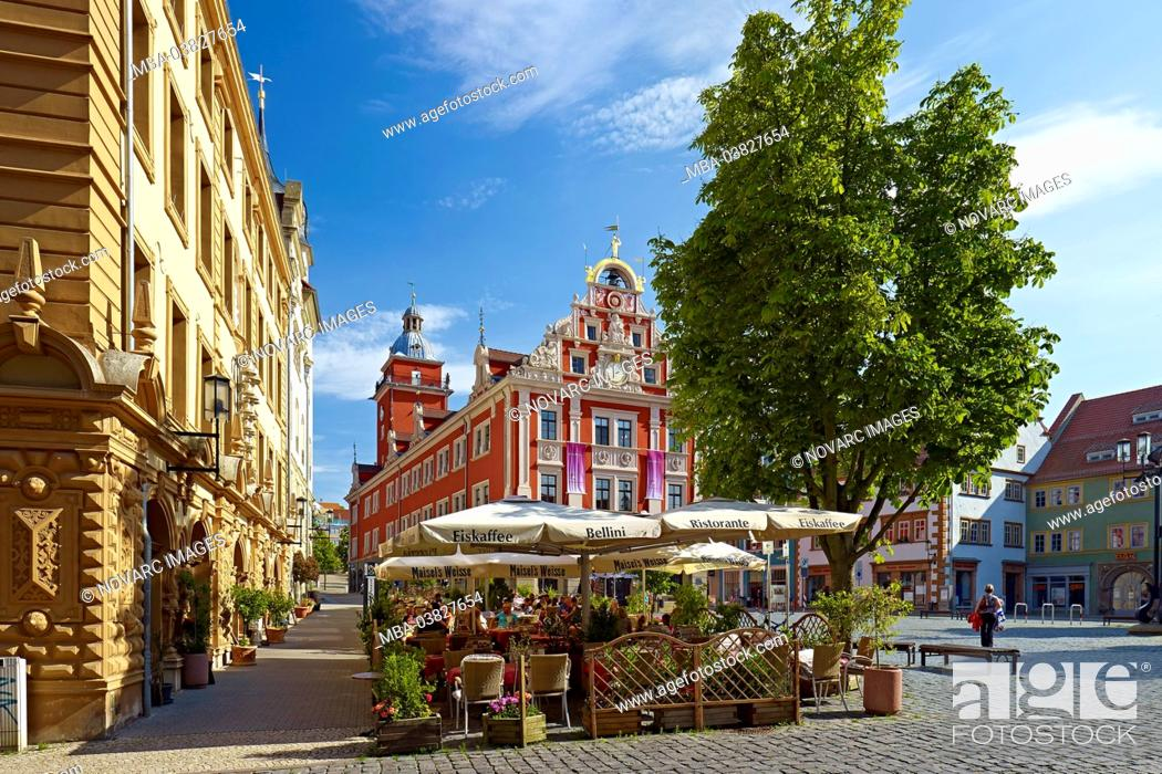 Stock Photo: Town hall on the main market with street cafe, Gotha, Thuringia, Germany,.