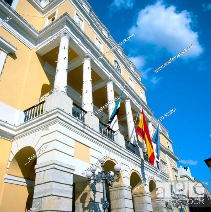 Stock Photo: Town Hall in Plaza de España, Badajoz. Extremadura, Spain.