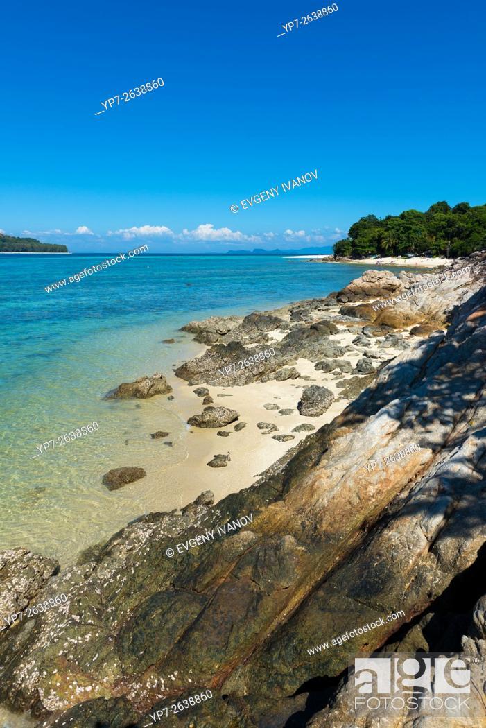 Stock Photo: Rocks And Beach Landscape Between Ko Lipe And Ko Adang, Thailand.