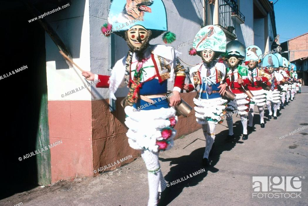 Stock Photo: 'Peliqueiros', carnival. Laza. Orense province. Spain.