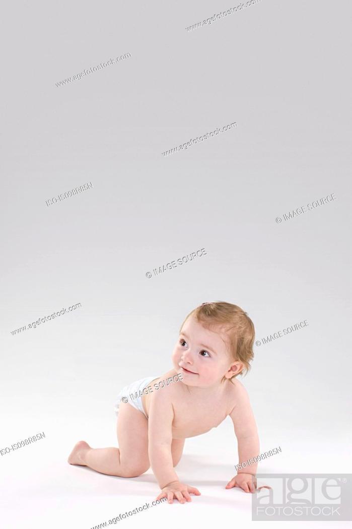 Stock Photo: Baby crawling.