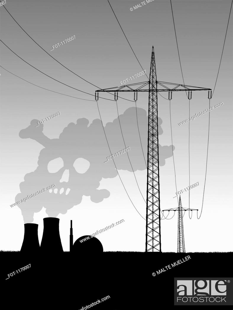 Stock Photo: Electric pylons beside nuclear power station releasing smoke resembling a skull.