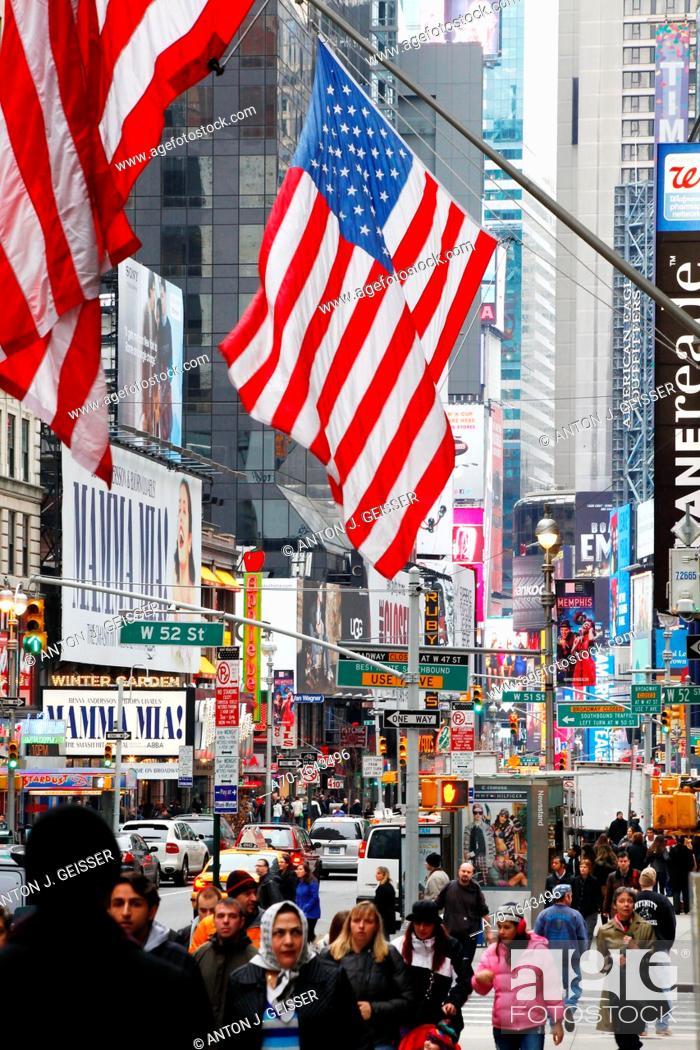 Stock Photo: Streetscene , american flag , new york city.