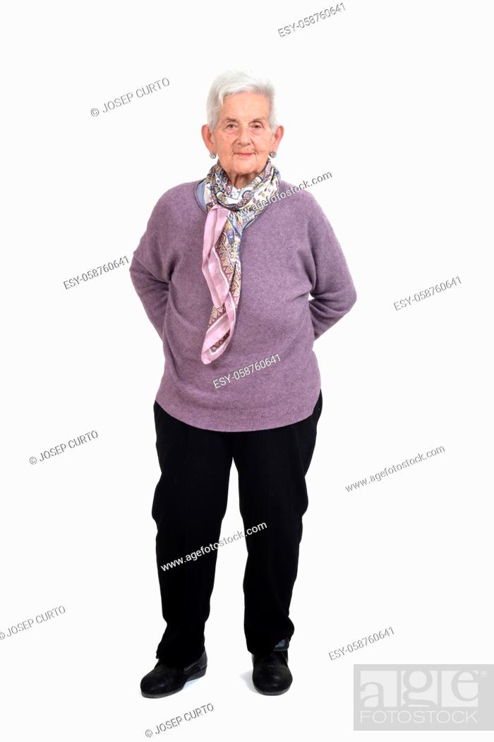 Photo de stock: front view of a full portrait of a senior woman hands on back on white background.