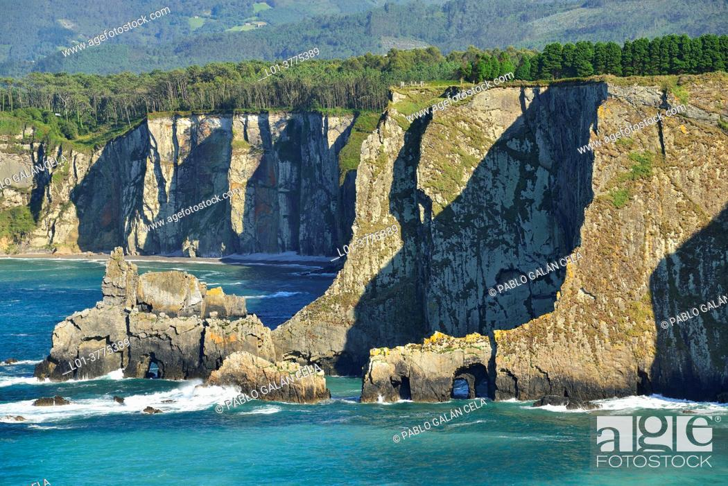 Stock Photo: Cape Busto, located in the town of Busto, council of Valdés, Principality of Asturias, Spain.