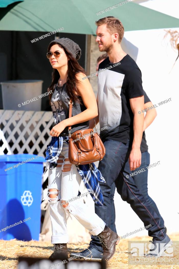 Stock Photo: Calvin Harris and Aarika Wolf go to Mr. Bones Pumpkin Patch with friends to pick out Halloween supplies. Featuring: Calvin Harris,Aarika Wolf Where: Los Angeles.
