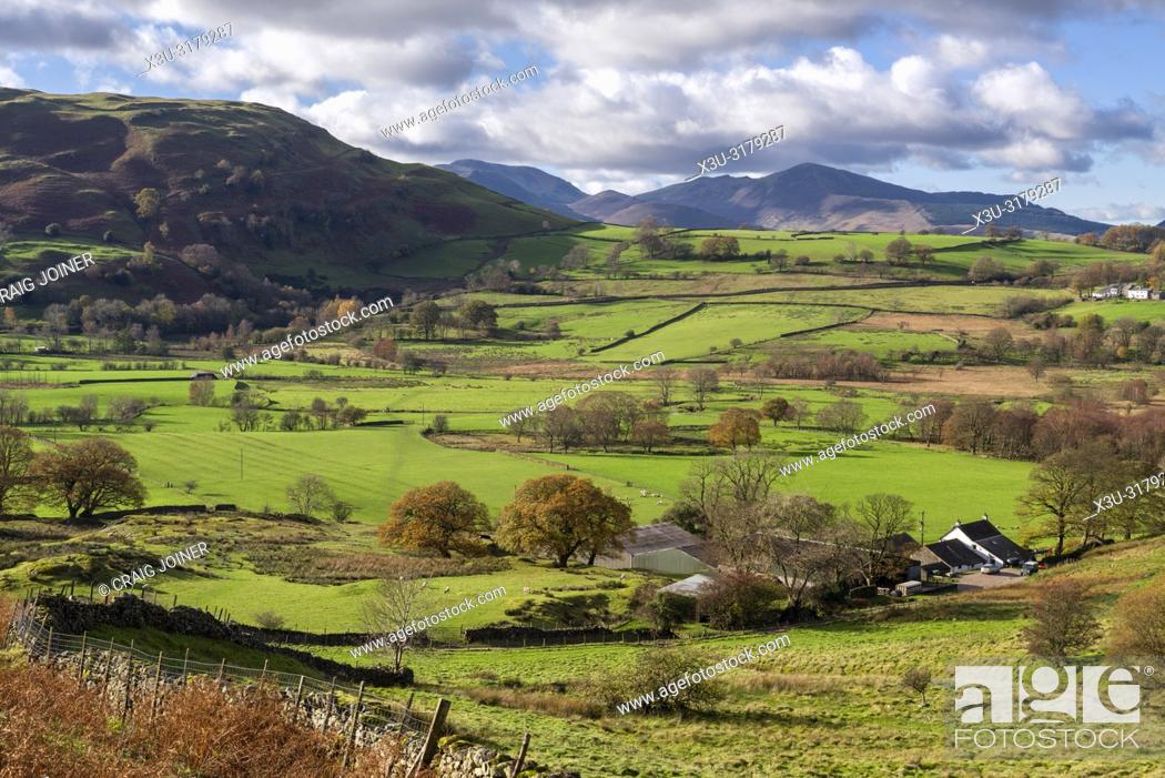 Stock Photo: Dale Bottom and Castlerigg Fell beyond in the English Lake District National Park, Cumbria, England.