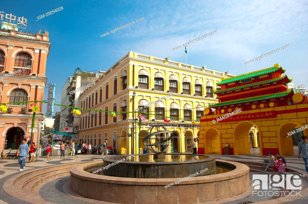 Stock Photo: China, Macou, Senado Square, UNESCO, World Cultural Heritage.