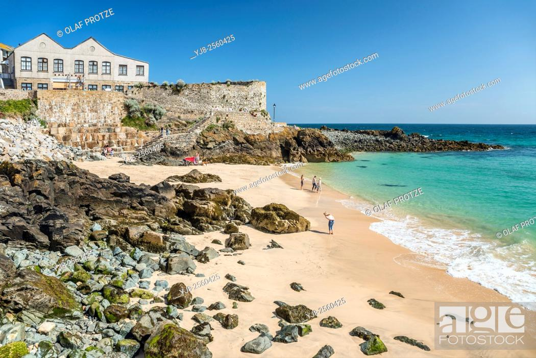 Stock Photo: View over Bamaluz Beach of St. Ives, seen from Smeatons Pier, Cornwall, England, UK.