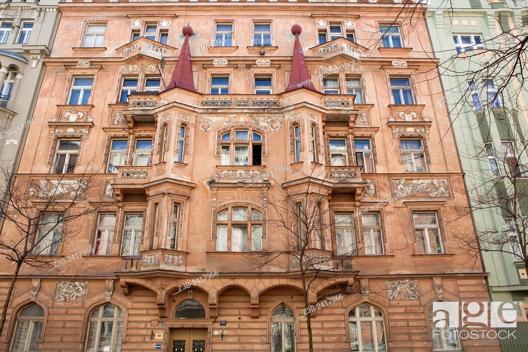 Art Nouveau architecture in the elegant residential district