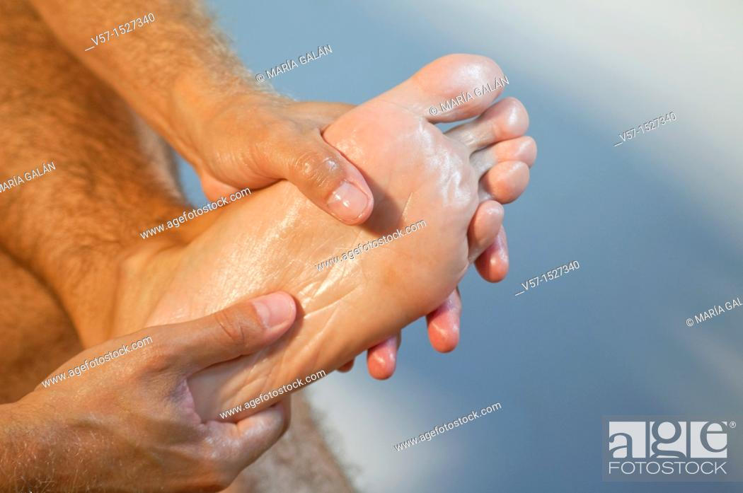 Stock Photo: Foot massage. Close view.