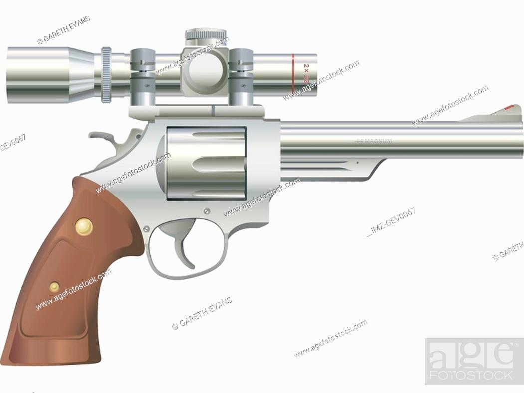 Stock Photo: A picture of a .44 Magnum cartridge (silver model with scope).
