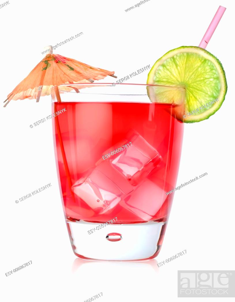 Stock Photo: Rad cocktail in a glass isolated on a white background.