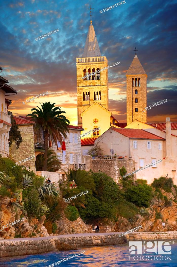 Stock Photo: The medieval town and cliffs Rab  Rab Island, Craotia.