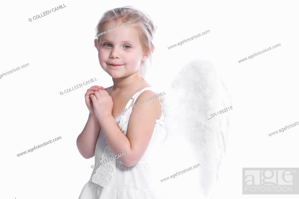 Stock Photo: Little angel praying.