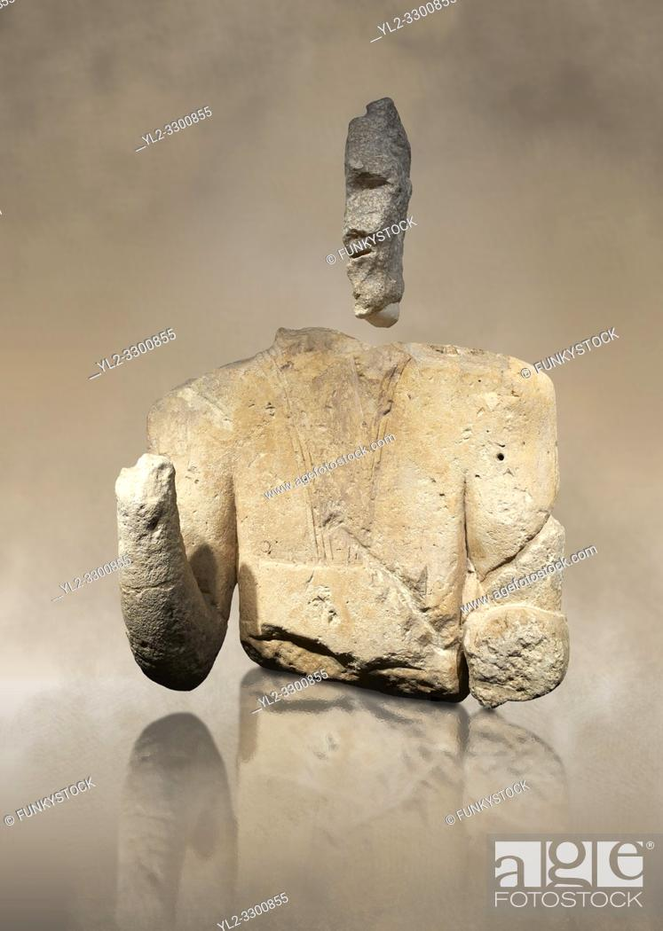 Stock Photo: 9th century BC Giants of Mont'e Prama Nuragic stone statue of an archer, Mont'e Prama archaeological site, Cabras. Museo archeologico nazionale, Cagliari, Italy.