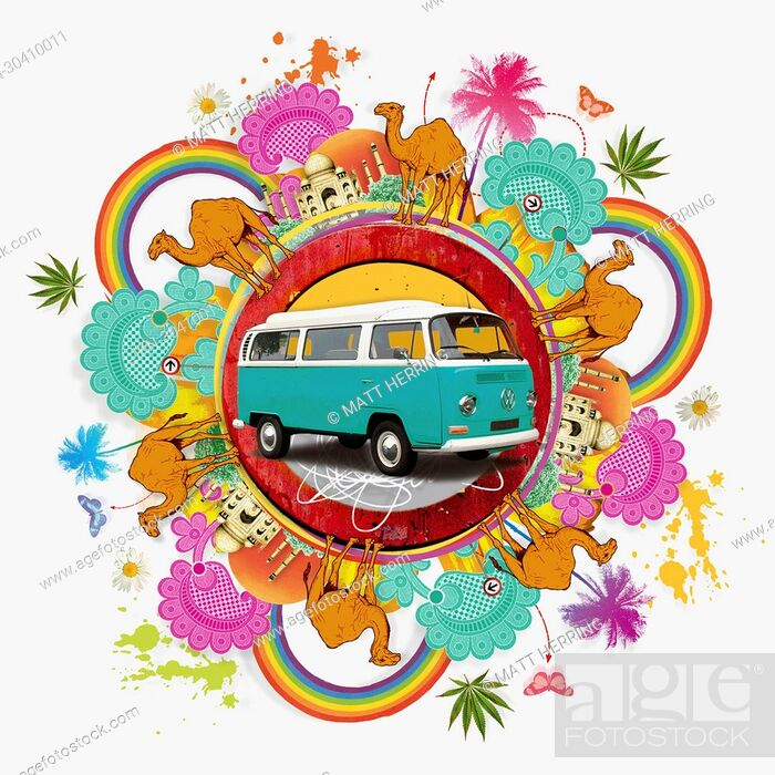 Stock Photo: Camper van surrounded by exotic images of India.