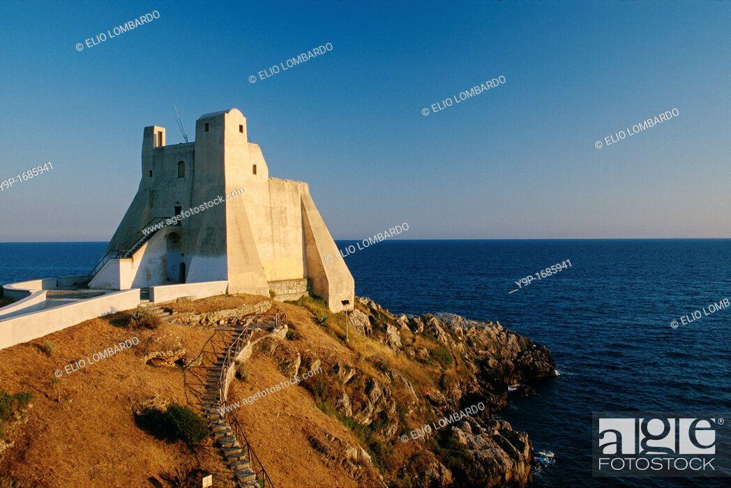 Stock Photo: Truglia Tower, Sperlonga, Latina, Latium, Italy.