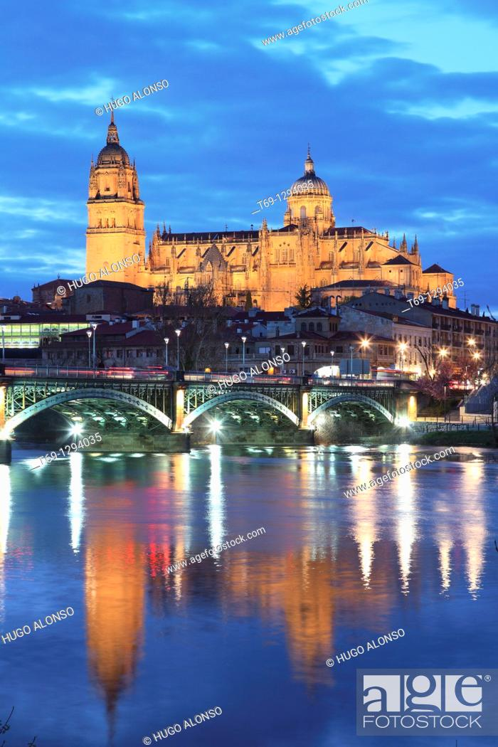 Stock Photo: River Tormes, bridge and Cathedral, Salamanca. Castile-Leon, Spain.