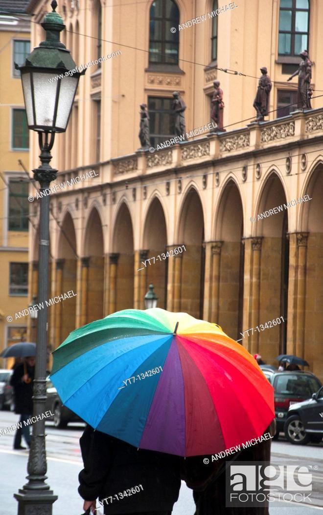 Stock Photo: Munich in the rain Maximilianstrasse, Germany.