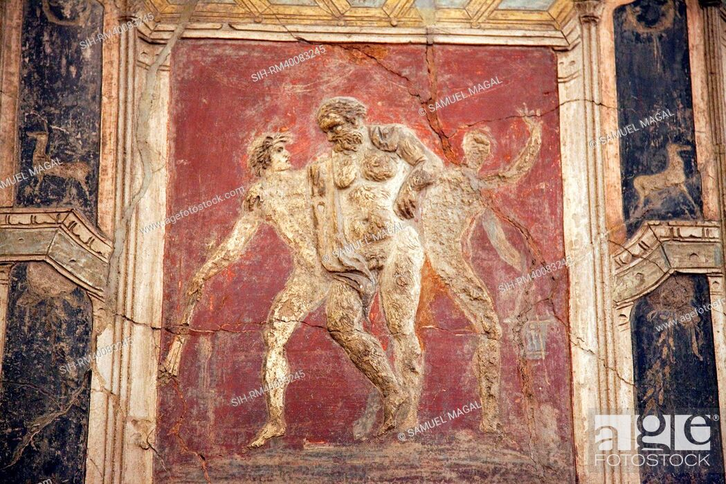 Stock Photo: Italy, Naples, Naples Museum, from Pompeii, House of Meleager, Stucco Policromo Polychrome.