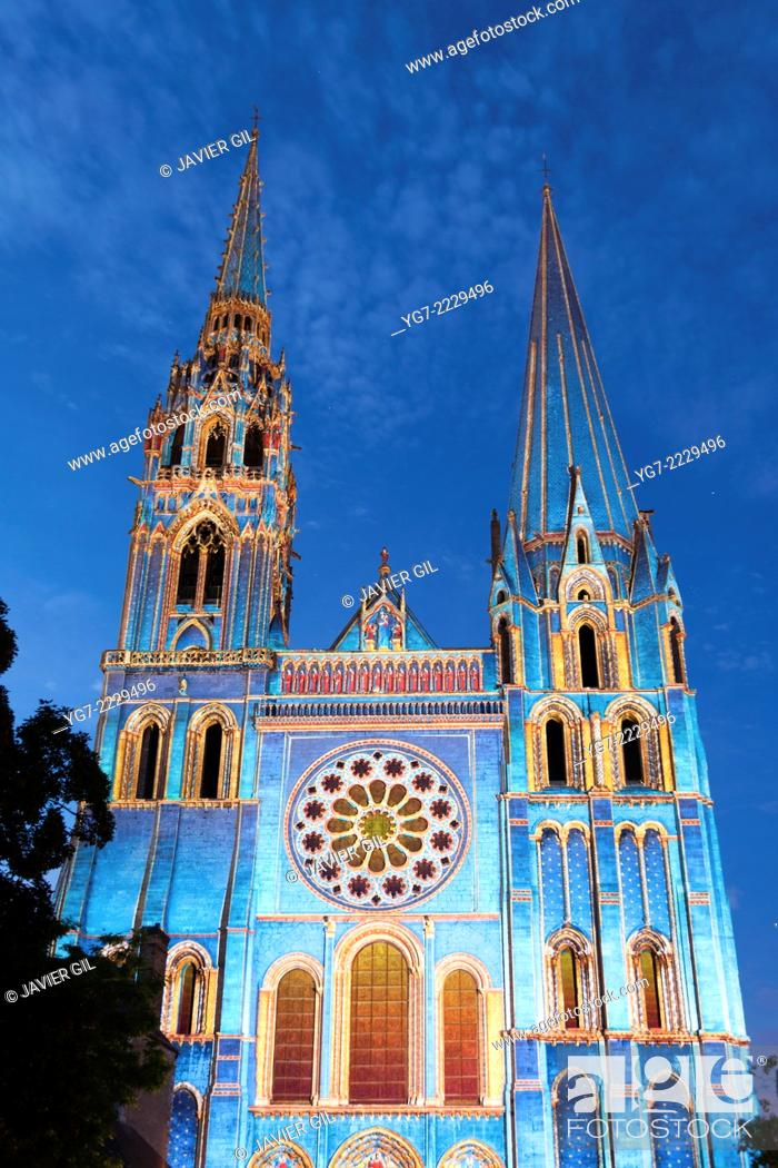 Stock Photo: 'Chartres en Lumières' spectacle, Chartres, Eure-et-Loir, Centre, France.
