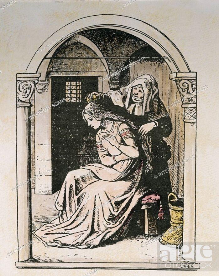 Stock Photo: Märchen, historisch, Literatur, Grimm, Schneewittchen, Ludwig Richter, 1853, TEXT NOCH IN BEARBEITUNG.