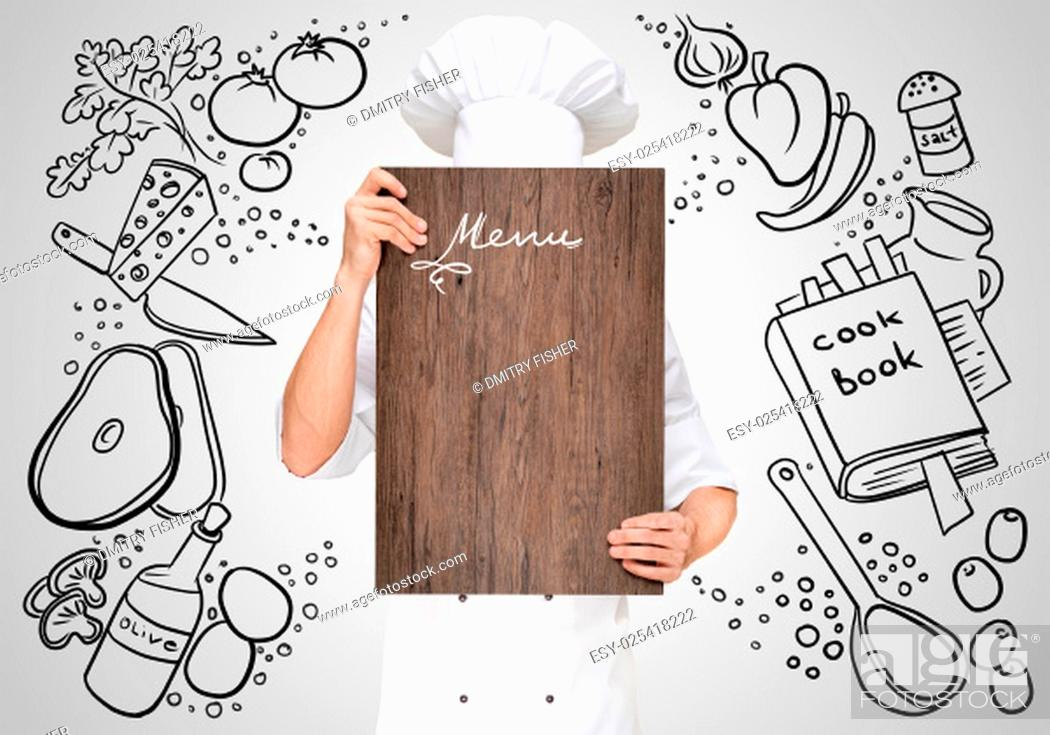 Stock Photo: Restaurant chef on a sketchy background hiding behind a wooden chopping board for a business lunch menu with prices.