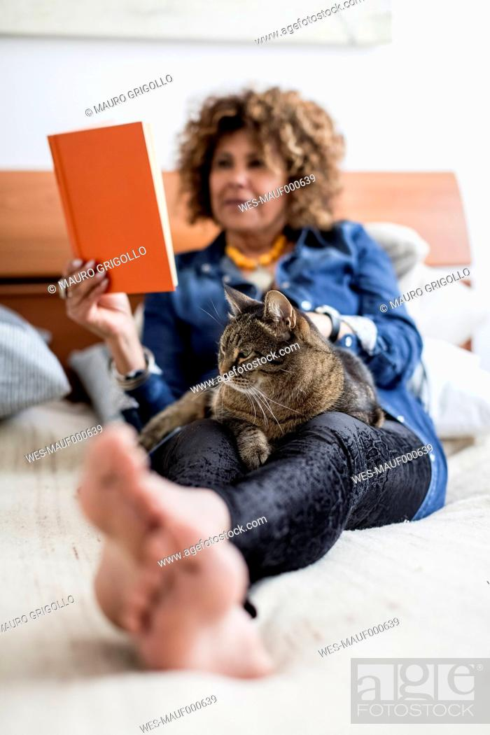 Stock Photo: Woman with cat on bed reading book.