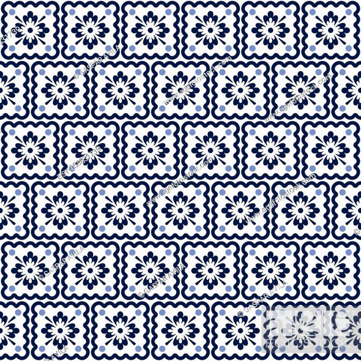 Vecteur de stock: Blue and white tiles pattern, resembling portuguese azulejo tilework. Graphic design.