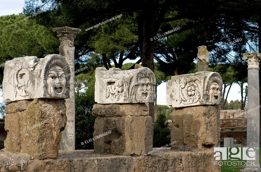 Photo de stock: Stone Masks in the Roman Amphitheater  Ostia Antica, Rome, Italy.