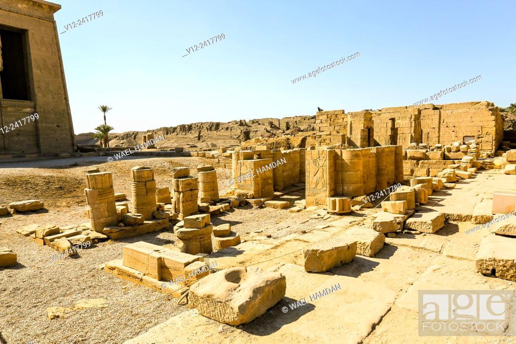 Stock Photo: Temple of Hathor Dandarah or Dendera, Ptolemaic period, 1st century b.C. relief scene, Qena, Egypt.