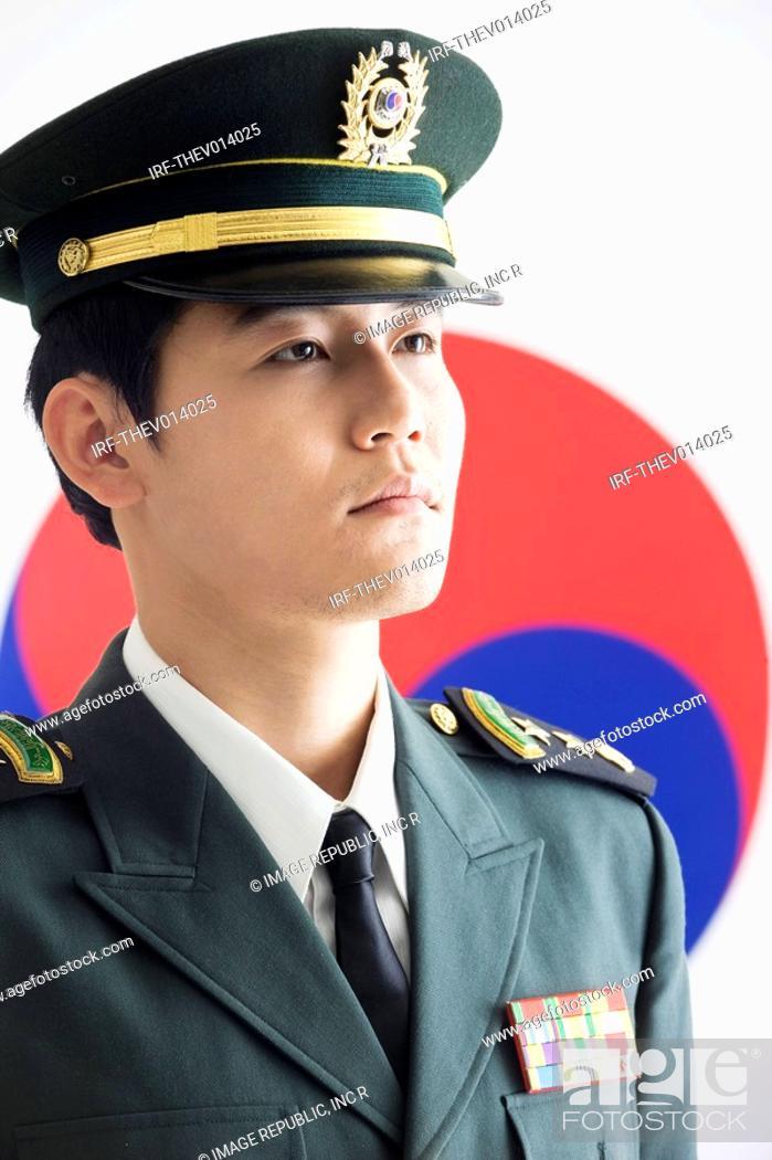 Stock Photo: military in front of Korean flag, Taegeukgi.