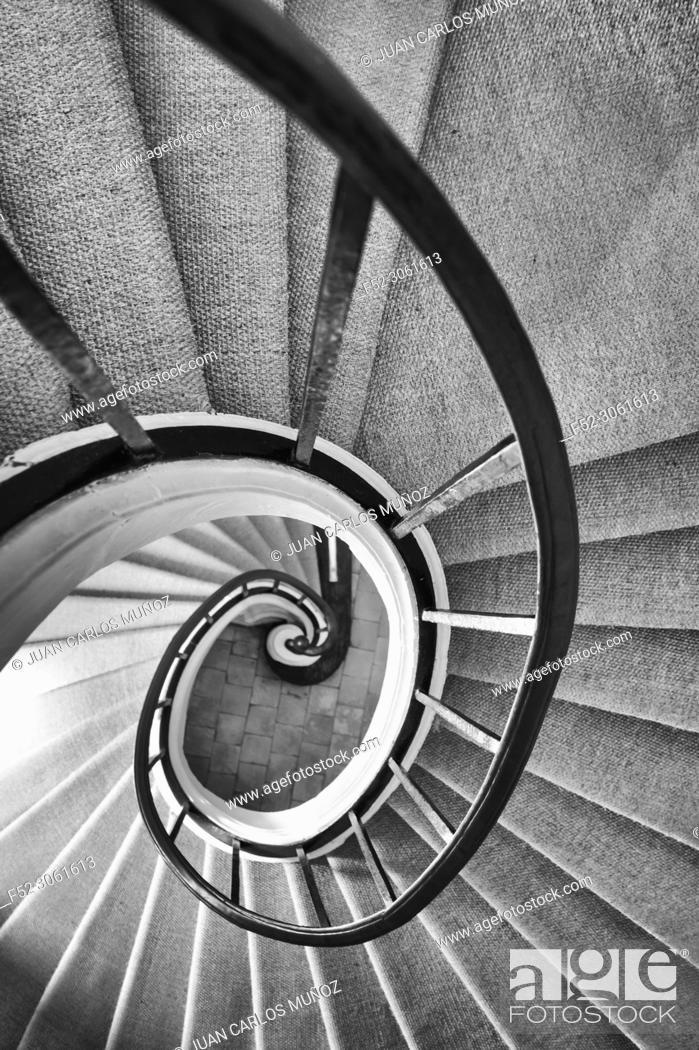 Stock Photo: Renaissance staircase, Villandry Castle, Villandry, Indre-et-Loire Department, The Loire Valley, France, Europe.