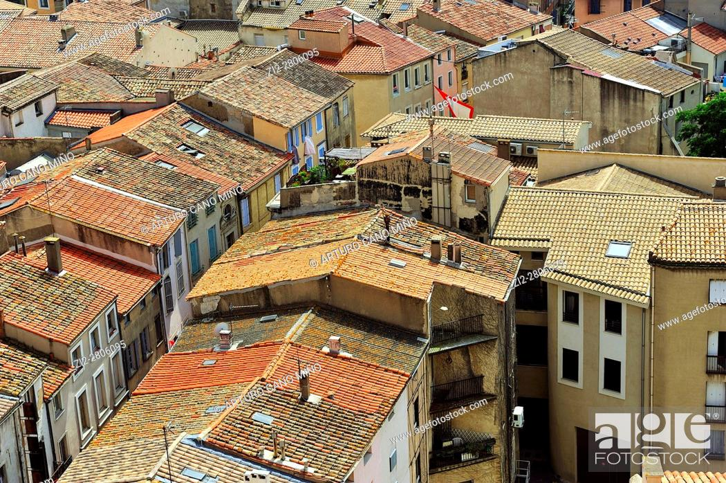 Stock Photo: Overview of the historical downtown. Narbonne city, Aude department, Occitanie region, France.