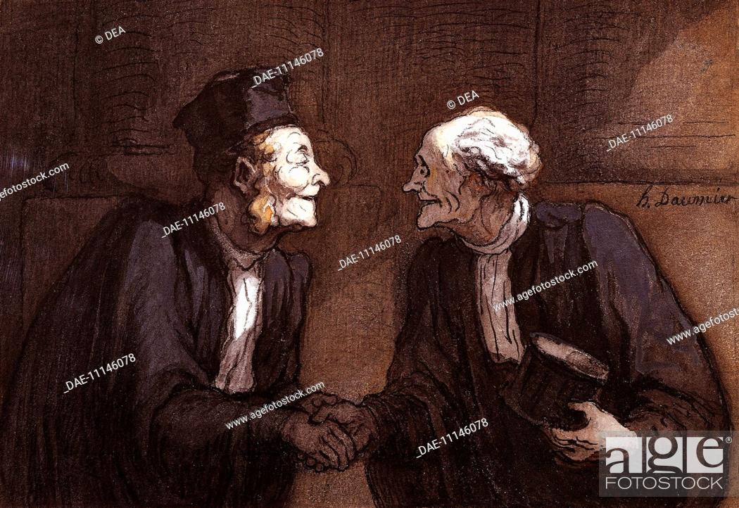 Stock Photo: Two lawyers the handshake, by Honore Daumier (1808-1879).  Amsterdam, Rijksmuseum (Art Museum).