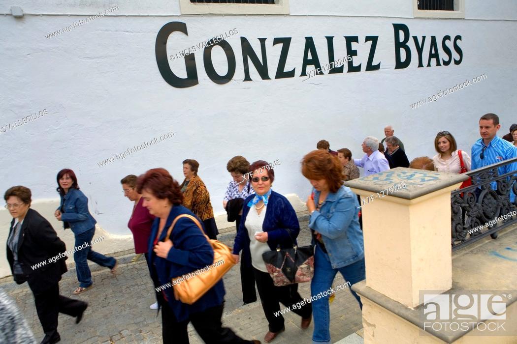 Stock Photo: Exterior of Gonzalez Byass winery Tio Pepe  Jerez de la Frontera  Cádiz province  Spain.