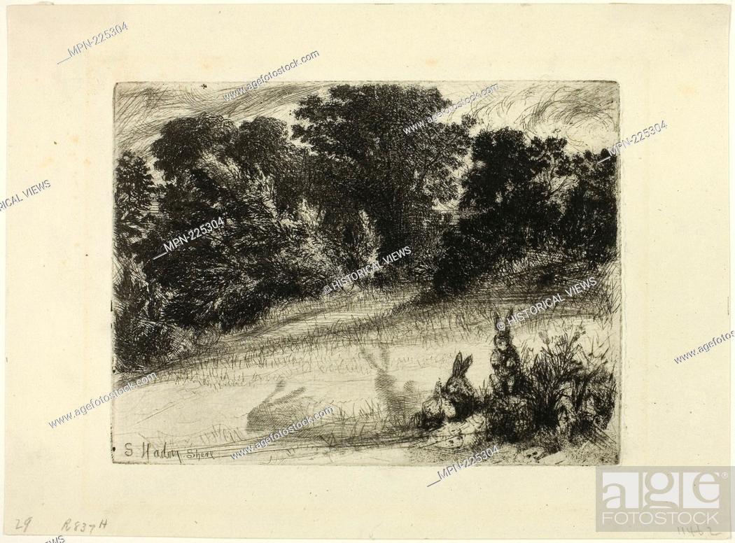 Stock Photo: Combe Bottom - 1860 - Francis Seymour Haden English, 1818-1910 - Artist: Francis Seymour Haden, Origin: England, Date: 1860.