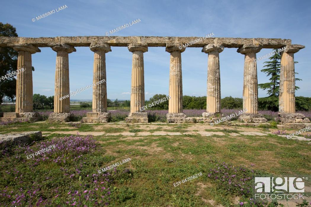 Stock Photo: Palatine Tables, Hera Sanctuary in Metaponto, Basilicata, Italy.
