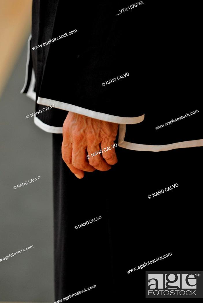 Stock Photo: Hand of mature Tai Chi practitioner.