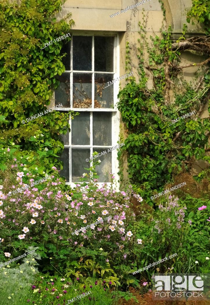 An old window of the house at Howick Hall and gardens in