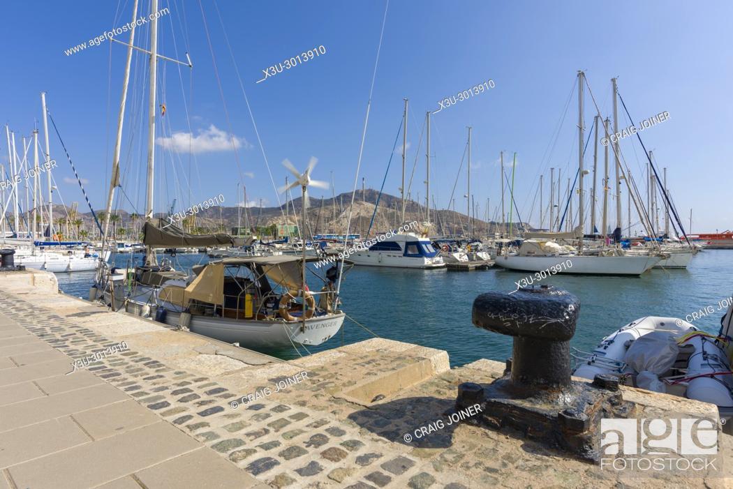 Stock Photo: The marina at the Mediterranean coastal city of Cartagena, Spain.