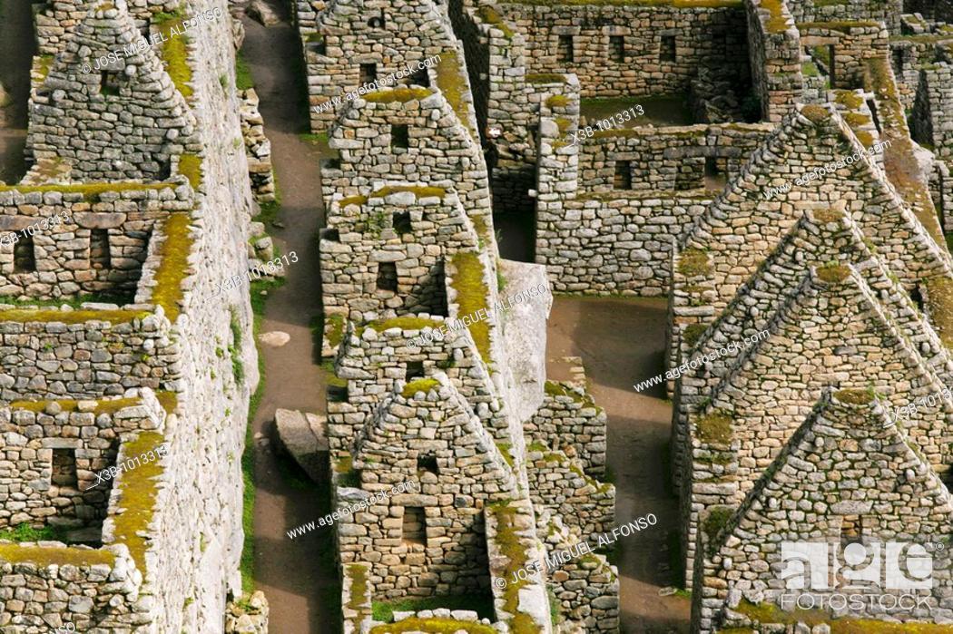 Stock Photo: Archaeological site of Machu Picchu, Aguas Calientes, Cuzco, Peru (December, 2009).