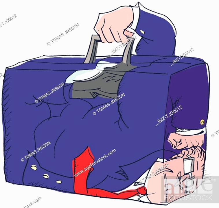 Stock Photo: businessman stuck inside his briefcase.