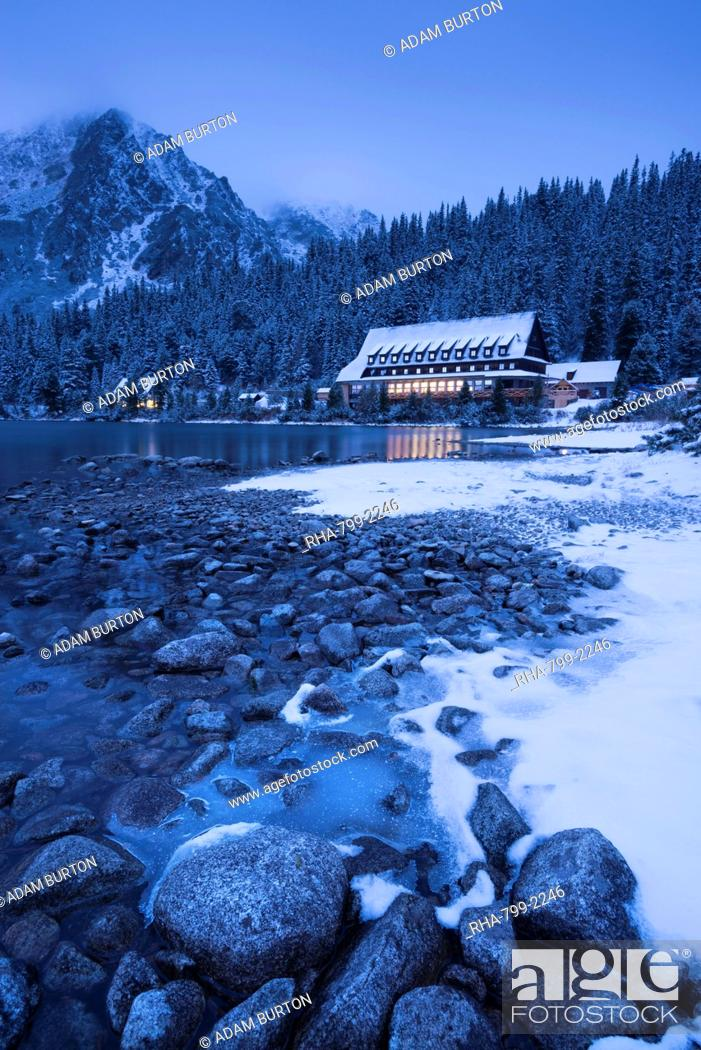 Frozen Lake Shore And Mountain House At Twilight In Winter Popradske Pleso High Tatras Slovakia Stock Photo Picture And Rights Managed Image Pic Rha 799 2246 Agefotostock