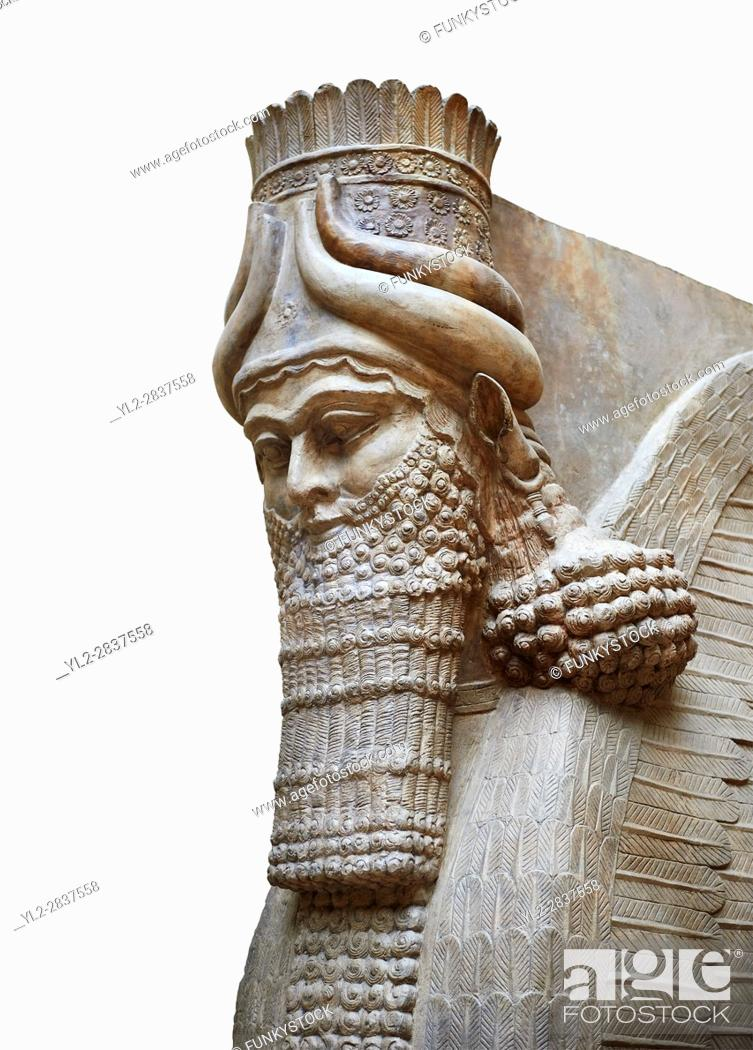 Stock Photo: Stone statue of a winged bull. Reproduction from the facade of the throne room, Inv AO 30043 from Dur Sharrukin the palace of Assyrian king Sargon II at.