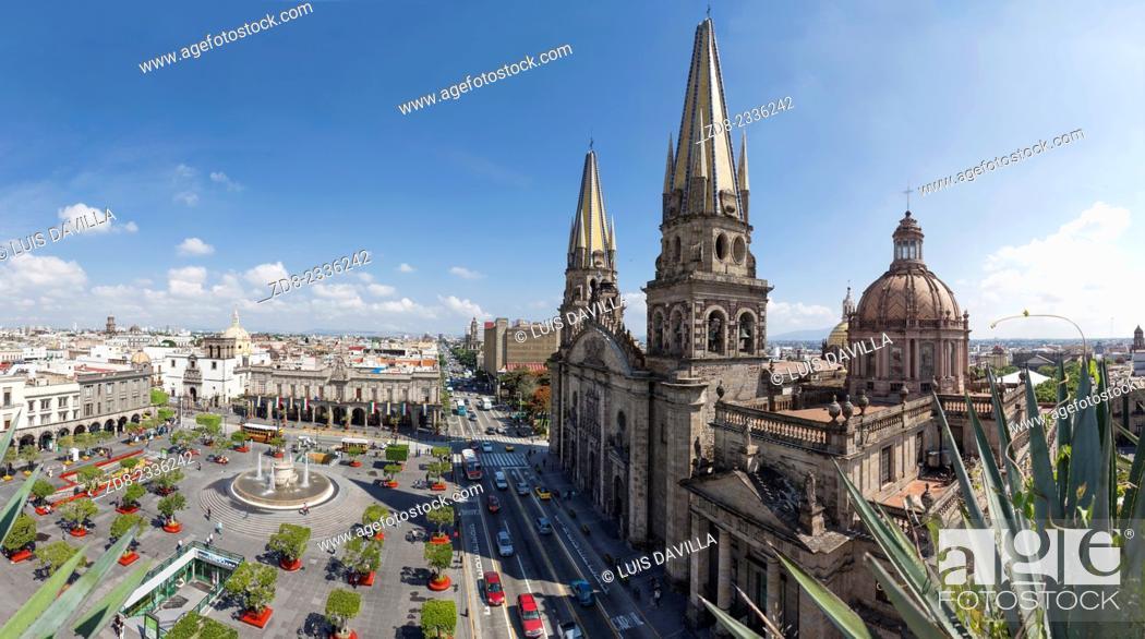 Stock Photo: Guadalajara's Main Square, the Plaza de Armas and cathedral.